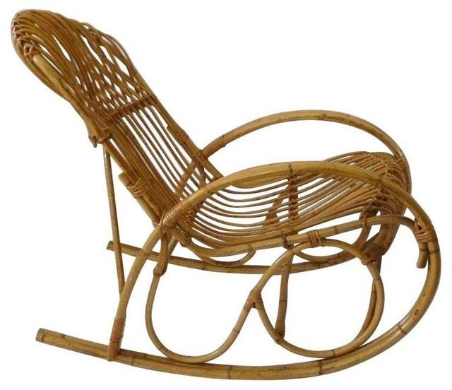 used franco albini style vintage bamboo rattan rocker. Black Bedroom Furniture Sets. Home Design Ideas