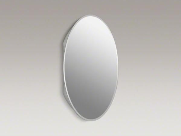 "KOHLER 20"" W x 31"" H plastic single-door medicine cabinet with oval mirrored doo - Contemporary ..."