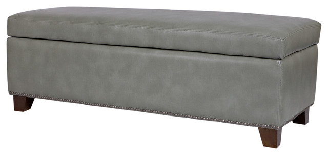 Portfolio Blane Grey Renu Leather Wall Hugger Trunk Storage Ottoman contemporary-dressers-chests-and-bedroom-armoires