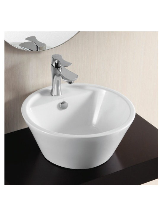 "Caracalla - Gorgeous White Above Counter Vessel Bathroom Sink - Gorgeous modern white ceramic circular bathroom sink designed in Italy by Caracalla. This round above counter vessel sink comes with a single faucet hole and overflow. Sink dimensions: 16.93"" (width), 7.09"" (height), 16.93"" (depth)"