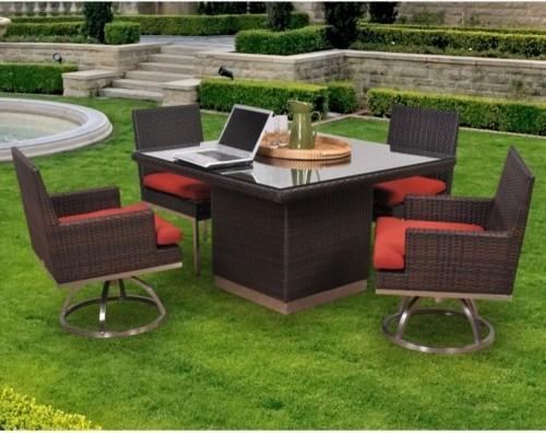 Caluco Mirabella All Weather Wicker Patio Dining Set Seats 4 Contemporary