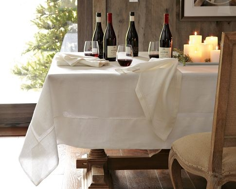 Captivating Hemstitched Linen Tablecloth | Williams Sonoma   Table Linens   By