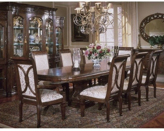 AICO Furniture - Villagio 9 Piece Double Pedestal Rectangular Table Dining Set i - Set Includes Dining Table, 4 Side Chairs and 2 Arm Chairs