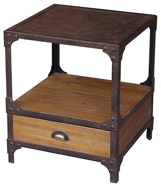 Wood Bedside Table : ... Industrial Loft Side Table transitional-nightstands-and-bedside-tables