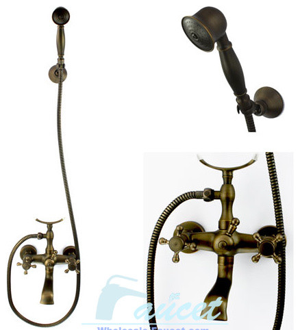 Antique Brass Bath Tub Faucet Shower Traditional Bathroom Faucets And  438x482 Antique Brass Exposed