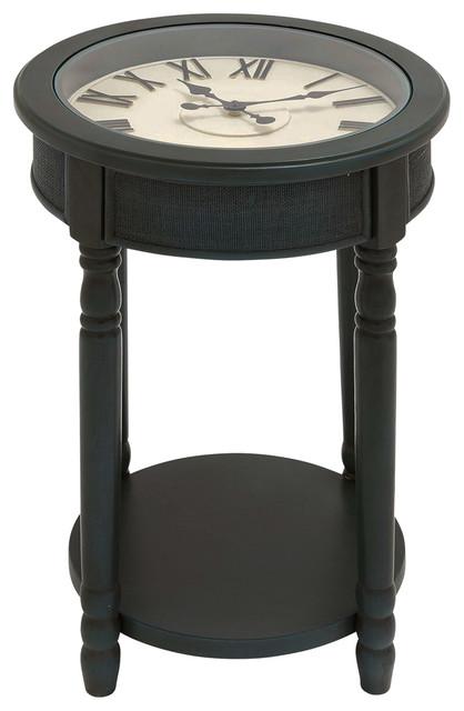 Urban Designs 26 Round Wooden Clock Accent Table Dark