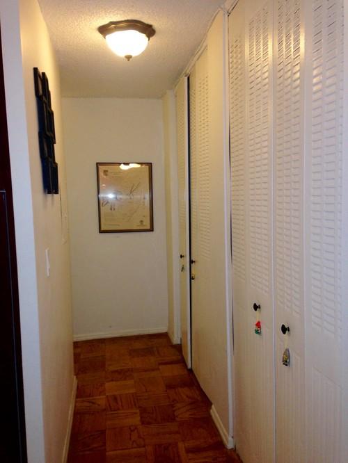 Re do small hallway modernize floors walls lighting closet doors