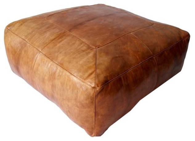 Large Moroccan Square Leather Ottoman