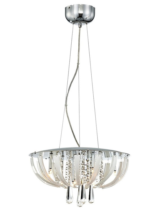 "Possini Euro Design - Luxe Suite Crystal Pendant Light - A pendant chandelier with pure sparkle and striking modern form. This design is alive with glittering clear crystal which cascades from the center of the design. The pendant light has gleaming chrome accents that complete the sophisticated look. Chrome accents. Clear and white crystals. Includes ten 20 watt halogen bulbs. 17"" wide. 9 1/2"" high. Comes with 11 feet of cable. Includes 5 1/8"" wide by 3 1/4"" high canopy. Comes with electronic transformer. Hang weight is 9 pounds.  Clear and white crystal glass.   Chrome finish accents.   Electronic transformer.   Includes ten 20 watt halogen bulbs.  17"" wide.   9 1/2"" high.   Includes 5 1/8"" wide by 3 1/4"" high canopy.   Comes with 11 feet of adjustable cable.  Hang weight is 9 pounds."
