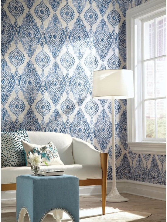 Boho Chic Wallpaper - WallpapHer - This boldly feminine adaptation of traditional damask exists to beautify the home. Large medallions appear to be embroidered on Alencon lace while raised inks add to the illusion. Vibrant colors like cobalt blue, lipstick pink or turquoise against neutral shades add to the depth of the ornate pattern.