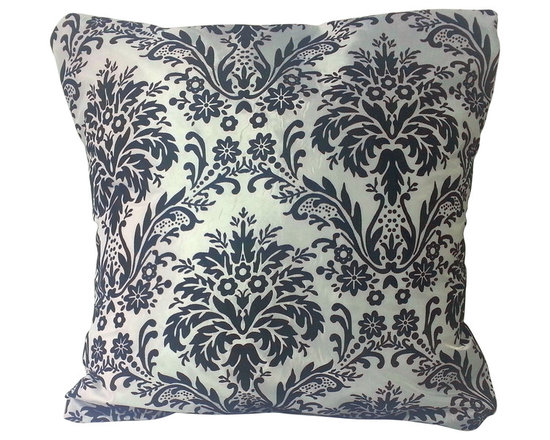 BohoCHIC Maui - Damask Print Pillow Cover, Black White Cushion Cover, Flock Damask Print - This pillow cover has been hand crafted from a black and white damask print fabric. Its flock design has a raised texture which feels good to the touch! The lined cover adds an additional luxurious detail with a black mirror organza overlay at the back. The signature envelope opening ensures the easy removal of the pillow insert, making cleaning the item fuss free.