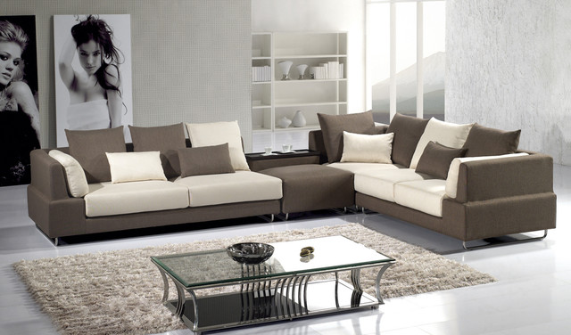 Contemporary Beige Brown Soft Fabric Sectional Sofa Chaise