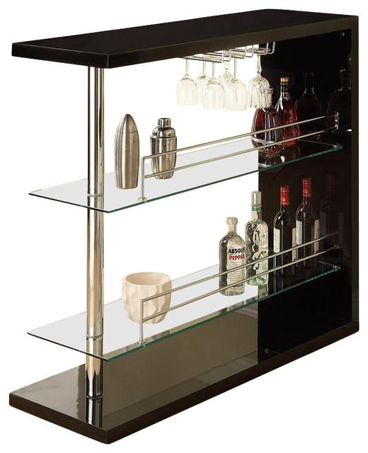Wine Rack Bar Table Unit With 2 Glass Shelves Wine Holder ...