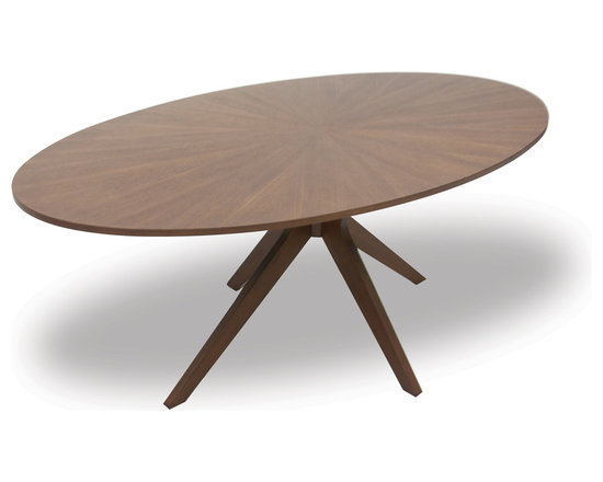 Bryght - Conan Oval Dining Table - Big, luxurious and versatile make up the characteristics of the Conan dining table. A stunning sunburst wood veneer top adds glamour while its dynamic centered leg design lends it a wonderful sculptural feel.