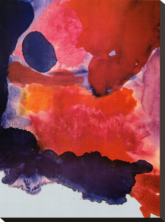 Blue Atmosphere Stretched Canvas Print by Helen Frankenthaler eclectic artwork