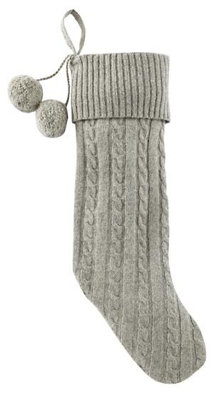 Gray Cable-Knit Stocking rustic-christmas-stockings-and-holders