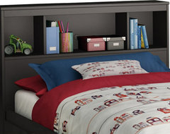 South Shore Affinato Twin Bookcase Headboard in Solid Black Finish transitional-headboards
