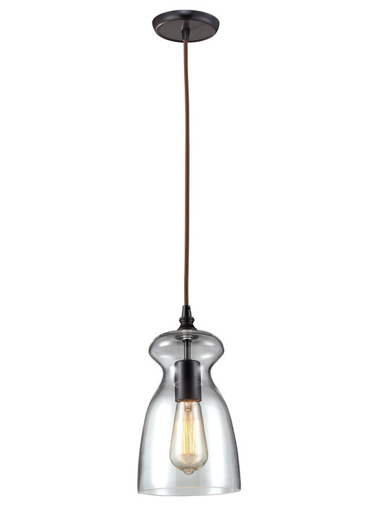 Menlow Park Bronze Mini Pendant Lighting Kitchen Island Fixture Glass Shade - Industrial inventions of yesteryear are reclaimed and reinterpreted to deliver the style demands of today. The classic filament style bulb (bulb not included) is showcased within a clear blown glass shade. Cloth cord and an oiled bronze finish add authentic charm and versatility to this fixture.