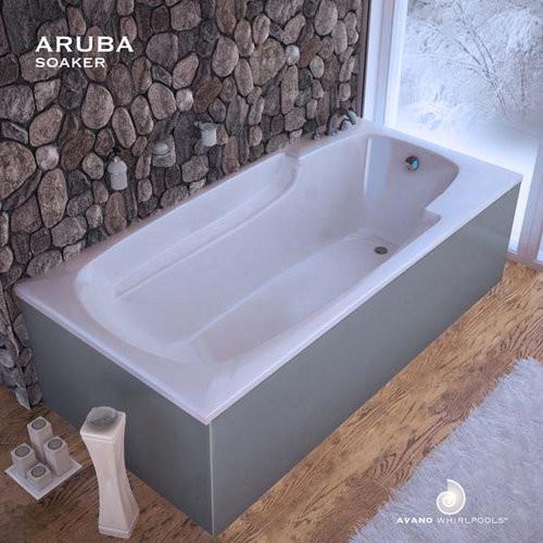 """Avano ARUBA3260E-WHITE White Aruba Aruba 59"""" Drop In Soaking Tub - Contemporary - Bathtubs - by ..."""