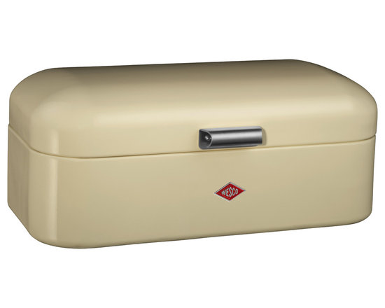 Wesco - Wesco Grandy Bread/Storage Box, Almond - Grandy Bread/Storage box is a modern version of a retro-classic.  Keep your bread, biscuits, cake fresh in this stylish storage box manufactured from high quality powder coated sheet steel, with ventilation holes and metal handle.  Also ideal for your storage needs outside of the kitchen.  Manufactured by Wesco of Germany, who has supplied unrivaled quality steel kitchenwares since 1867, and continue to develop unique and innovative designs