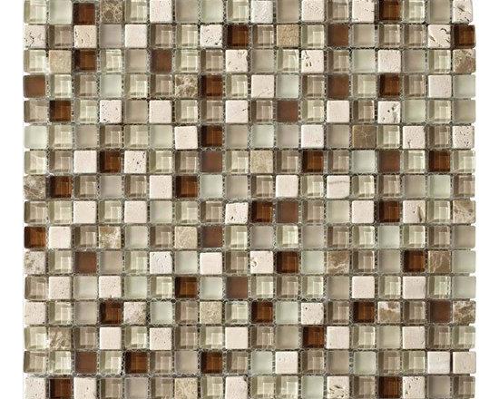 "Stone Medley | Travertino Mix Light Dark (5/8"" x 5/8"") -"