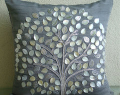 Silver Hope Tree Throw Pillow Cover by The Home Centric contemporary pillows