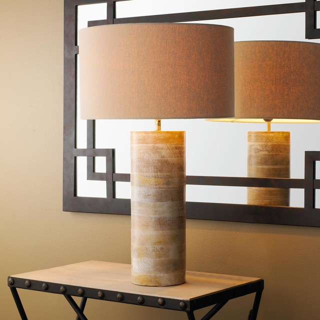 cylindrical wooden table lamp with natural linen shade lamp shades by shades of light. Black Bedroom Furniture Sets. Home Design Ideas