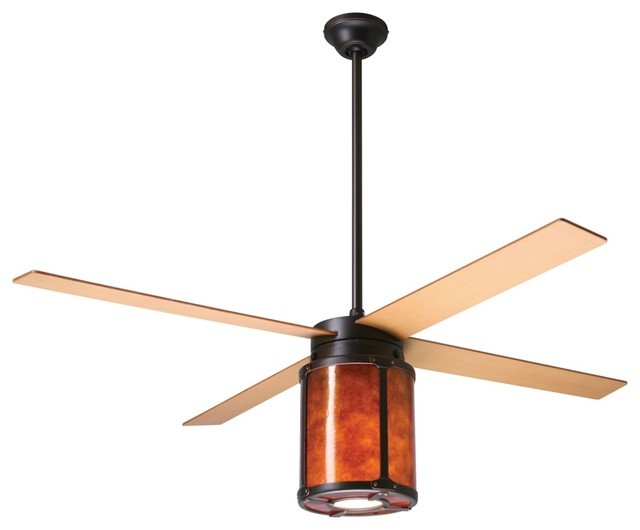 """Arts and Crafts - Mission 42"""" Arcadia Rubbed Bronze and Mica Ceiling Fan modern-ceiling-fans"""