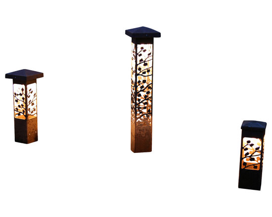 """Attraction Lights - Bollard Light- Aspen- Decorative steel light fixture - The 6 x 6 Bollard light is 42""""  tall and is perfect for illuminating steps and entryways and it also makes a great piece of functional steel art or sculpture for your back yard by the patio or within perennial flower beds.  If your tired of the same old boring path lights and are ready for something unique and different,  these sculptural steel pieces really make a statement.  Anchored on a concrete footing, not even the biggest dog will not knock them over.  Standard 12 volt lighting that can be modified to 120 volt. The lights come standard with a 2700k (warm white color) LED light bulb.  This particular pattern is from our Aspen series and is perfect for cabins and woodsy settings."""
