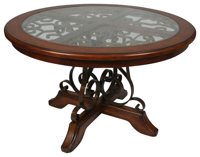 54 Inch Round Wood Dining Table In Cosmo Sepia Traditional Dining