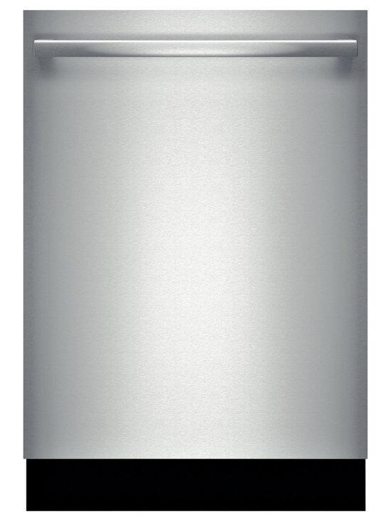"Bosch 24"" Bar Handle 300 Series Dishwasher, Stainless Steel | SHX53T55UC - 46 dBA- Quietest Brand InfoLight Beams on Floor to Indicate Dishwasher is Running Detergent Tray Optimizes Detergent Dissolving AquaStop Leak Protection Works 24/7 Self-Latching Door"