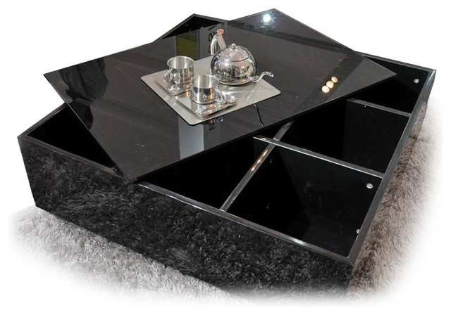 Modern Black Square Glass Top Coffee Table With Storage Awara Modern Coffee Tables Other