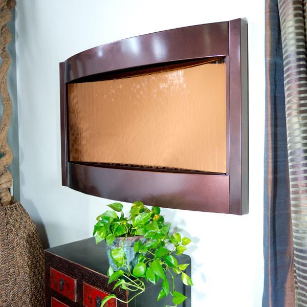 Contempo Solare Wall Fountain - Dark Copper and Bronze Mirror contemporary-indoor-fountains