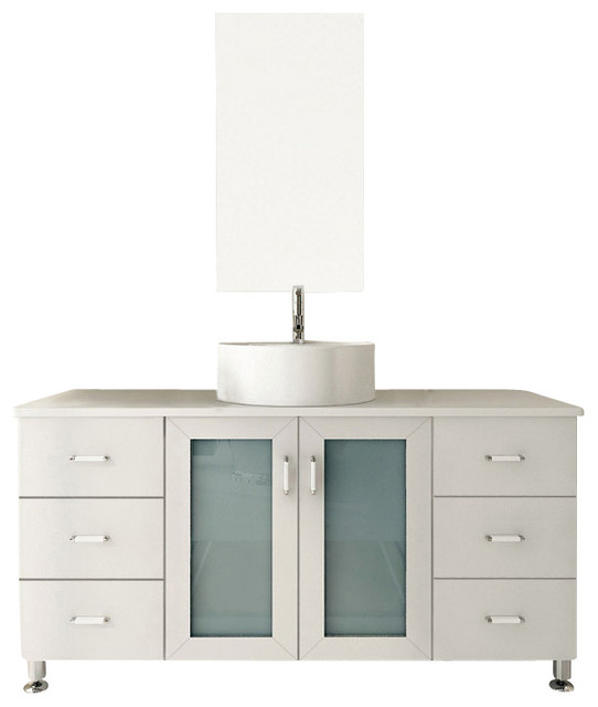Grand Lune White Single Vessel Sink Modern Bathroom Vanity Cabinet Transiti