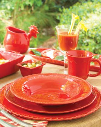 Vietri Bellezza Tomato Red dinnerware