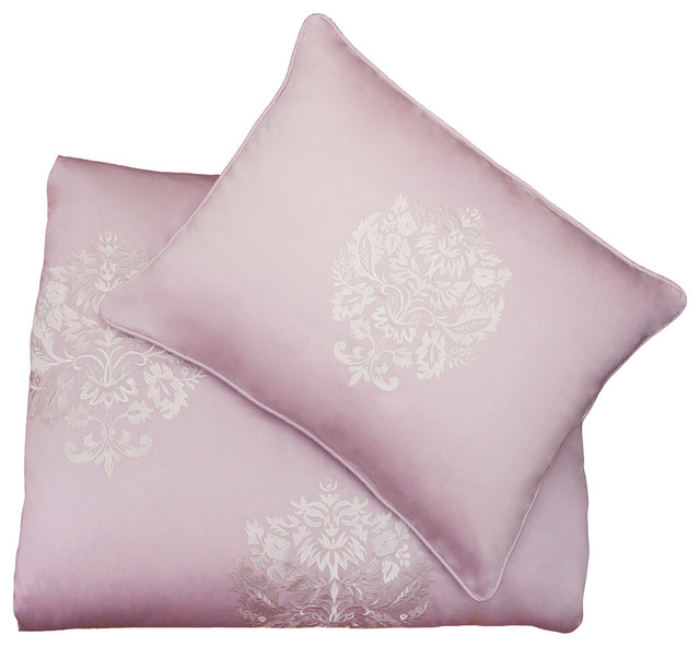 Luxe Embroidered Duvet Cover, The Lafayette Pink modern-duvet-covers-and-duvet-sets