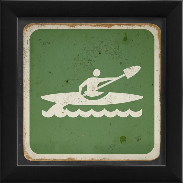 Kayaking Sign Framed Artwork contemporary-prints-and-posters