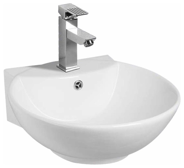 Sink Basins White Vitreous China Sink White Vitreous China Wall Mount 18 1 8 In Traditional
