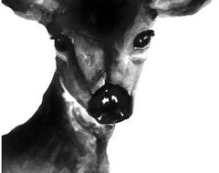 Deer Portrait, Black and White by My Little Water Bird eclectic-artwork