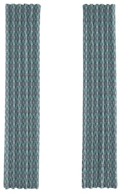 Blue & Aqua Handwoven Ikat Custom Drapery Single Panel eclectic-curtains