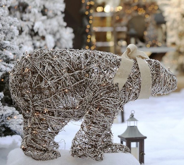 lit twig polar bear contemporary outdoor holiday