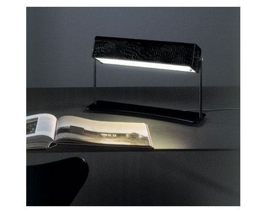 Sibilla Table Lamp by Penta Light - Sibilla Table Lamp by Penta Light. Lamp with structure in anthracite nickel and leather in the colours: moka, natural, white or crocodile. Light diffuser shade in opal white Plexiglas. Sibilla Table Lamp by Penta Light are designed by Antonello Mosca.