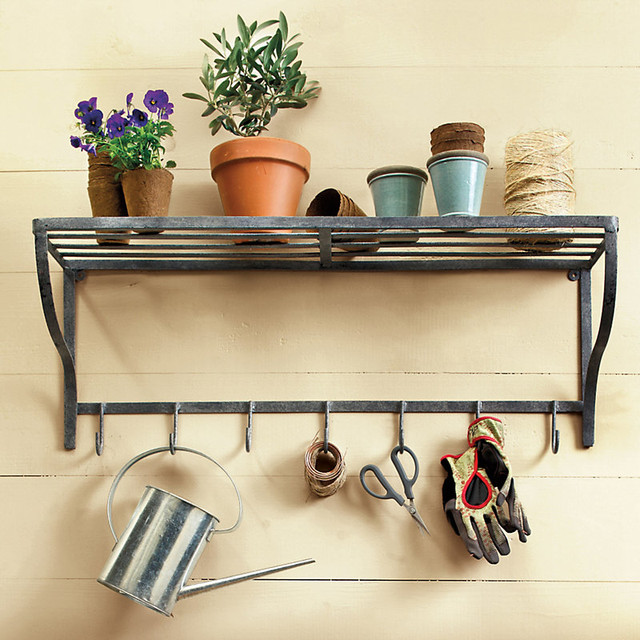 Metal potting shelf with hooks traditional paintings by ballard