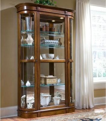 Pulaski Pecan Curio Display Cabinet modern-furniture