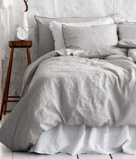 Linen Duvet Cover Set, Light Gray - Traditional - Duvet Covers And ...