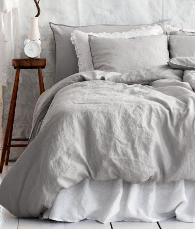 Linen Duvet Cover Set Light Gray Traditional Duvet