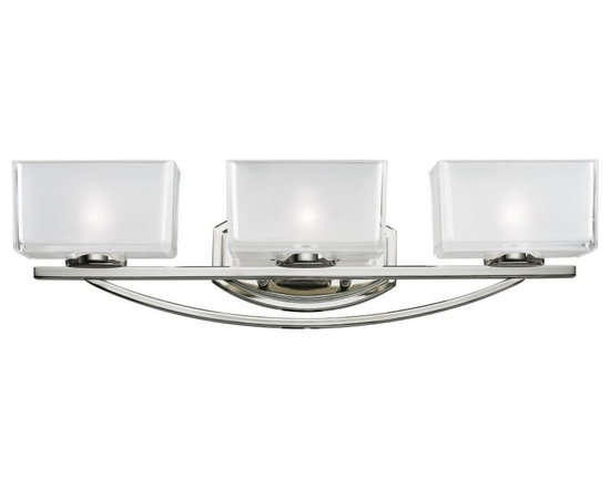 Joshua Marshal - Three Light Chrome Frosted White Inside And Clear Outside Glass Vanity - Finish: Chrome