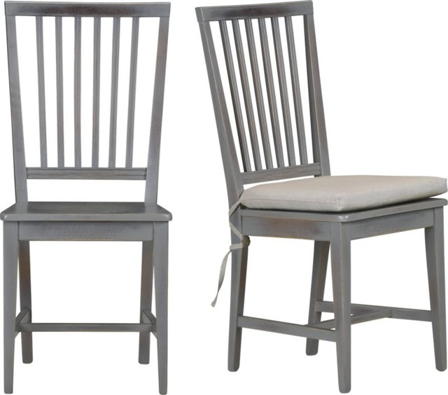 village grigio side chair and natural cushion dining chairs by