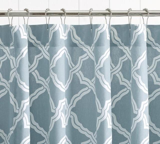 Kendra Trellis Shower Curtain, Porcelain Blue contemporary-shower-curtains