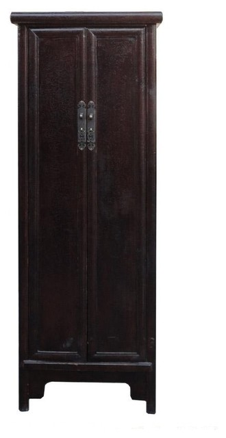 Chinese Rustic Brown Lacquer Narrow Slim Cabinet Cupboard - Rustic - Storage Cabinets - by ...